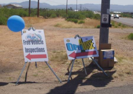City of SV Free Vehicle Inspection A-frame sign