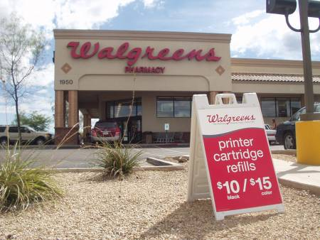 Walgreens A-frame sign for printer cartridges